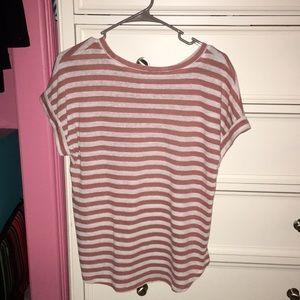 blush pink and white stripped shirt